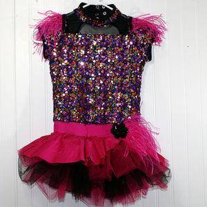 Multicolor Fuschia Sequin Tutu Dance Costume